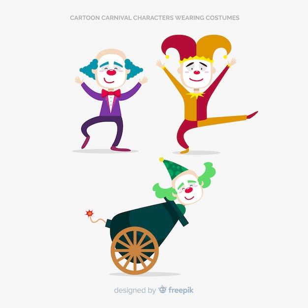 Personagens de carnaval dos desenhos animados vestindo trajes Vetor grátis