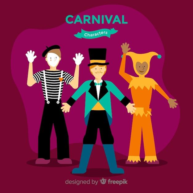 Personagens de carnaval vestindo trajes Vetor grátis