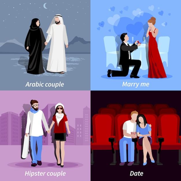 Personagens de casais no deserto, restaurante, cidade e cinema Vetor grátis