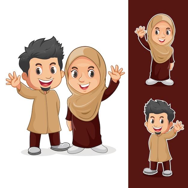Personagens de casal muçulmano Vetor Premium