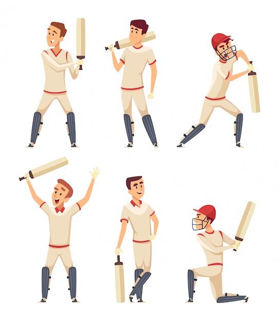 Personagens de críquete. conjunto de vários jogadores do esporte em poses de ação Vetor Premium