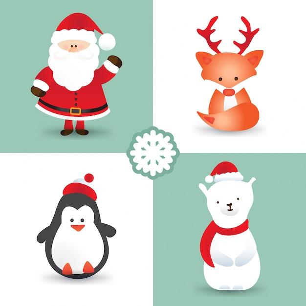 Personagens De Desenho Animado De Natal Como O Papai Noel