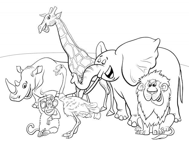 Desenho De Animais Do Zoológico Reunidos Para Colorir: Personagens De Desenhos Animados Animais Safari Livro Para