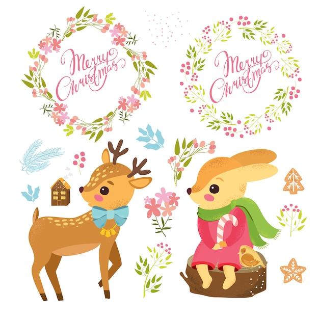 Personagens de desenhos animados bonitos com conjunto de plantas e grinaldas de natal Vetor grátis