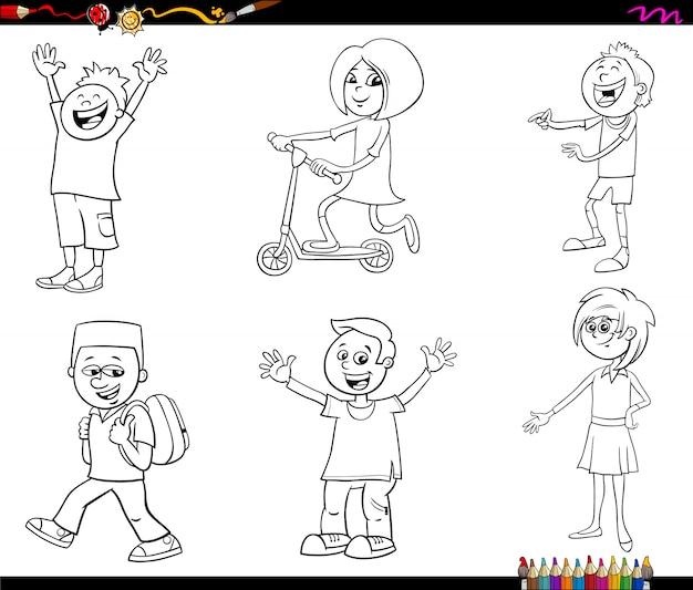 Personagens De Desenhos Animados Criancas Colorir Pagina De Livro