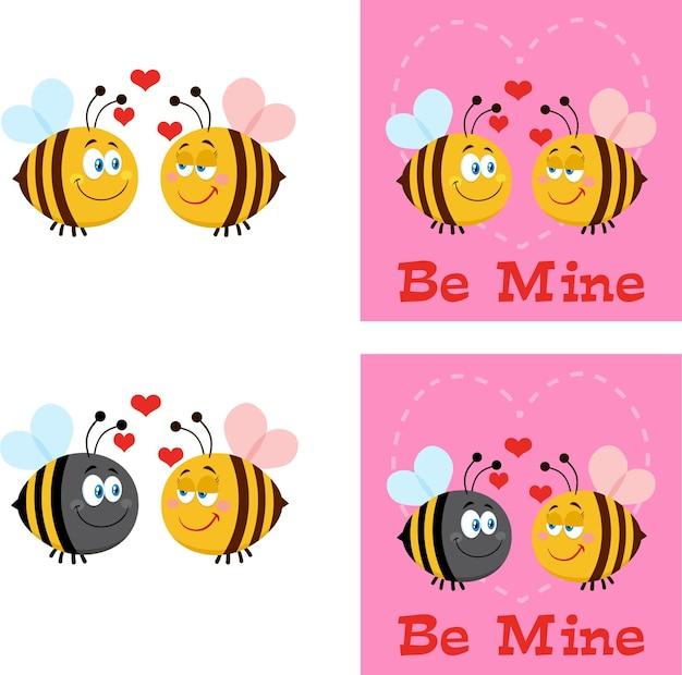 Personagens de desenhos animados de abelha. conjunto de coleta plana isolado Vetor Premium