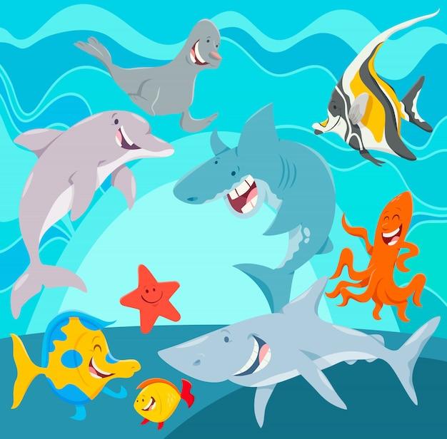 Personagens de desenhos animados de animais marinhos debaixo d'água Vetor Premium