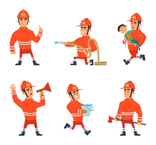 Personagens de desenhos animados de bombeiros em poses de ação Vetor Premium