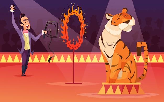 Personagens de desenhos animados de circo. Vetor Premium