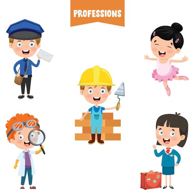Personagens De Desenhos Animados De Diferentes Profissoes Vetor Premium