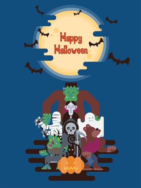 Personagens de desenhos animados de halloween sob a lua Vetor Premium