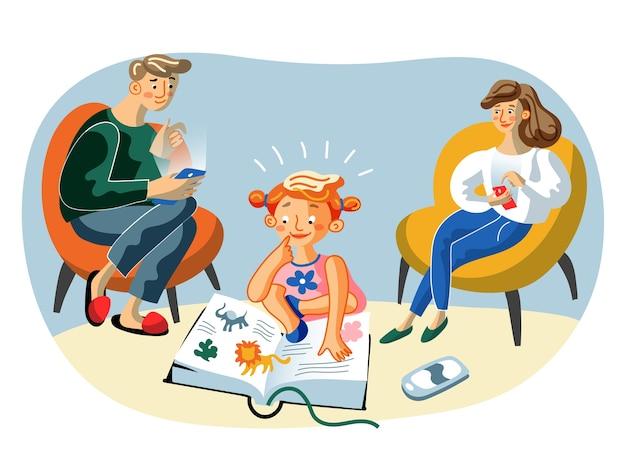 Personagens de desenhos animados de mãe, pai e filha felizes, pais navegando na internet com smartphones, criança inteligente prefere livros a gadgets Vetor Premium