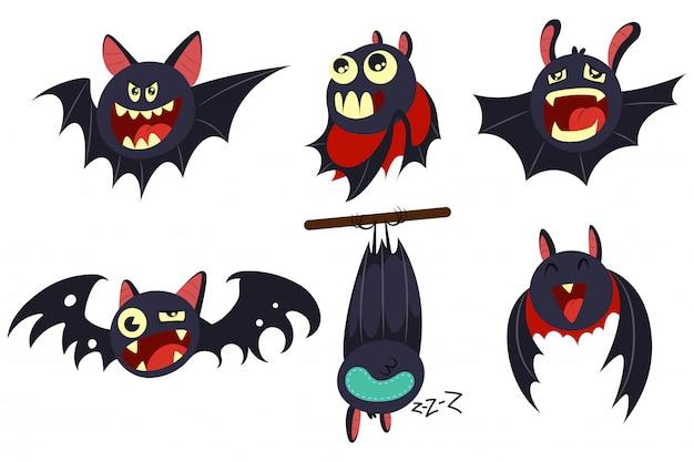 Personagens de desenhos animados de morcego-vampiro conjunto isolado no branco. Vetor Premium