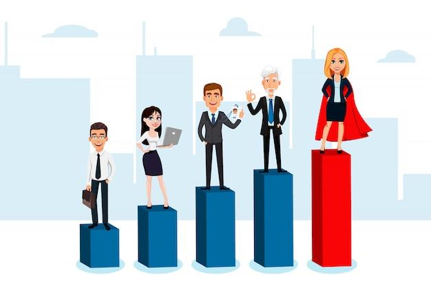 Personagens de desenhos animados de pessoas de negócios Vetor Premium