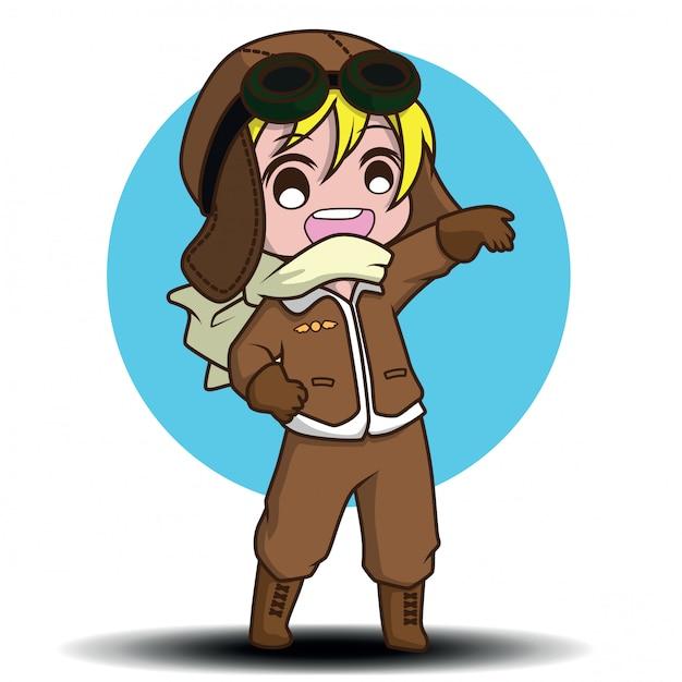 Personagens de desenhos animados de piloto bonito Vetor Premium