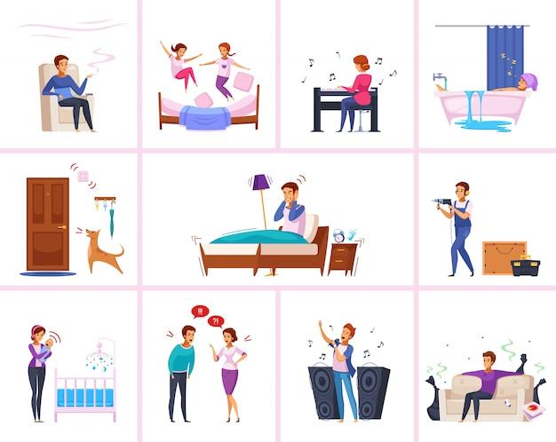 Personagens de desenhos animados de relações de vizinhos Vetor grátis