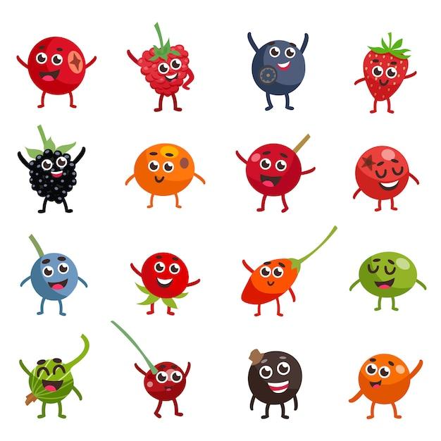 Personagens de desenhos animados engraçados bagas Vetor grátis