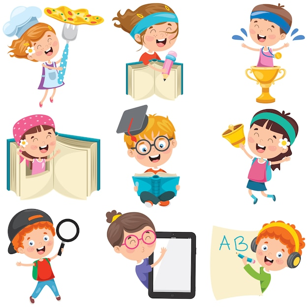 Personagens de desenhos animados, fazendo várias atividades Vetor Premium