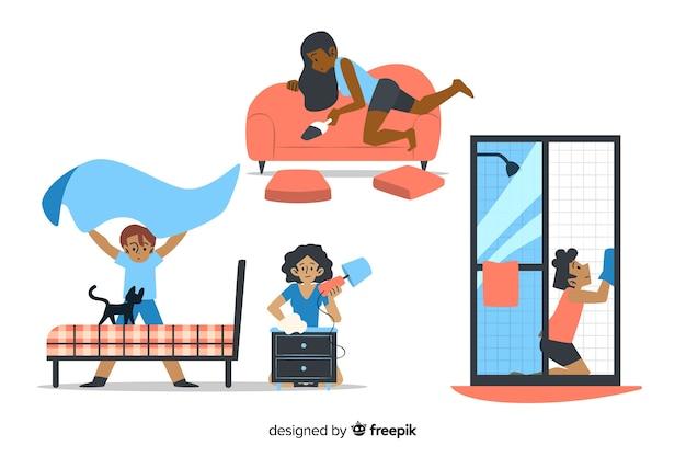 Personagens de design plano fazendo trabalhos domésticos Vetor grátis