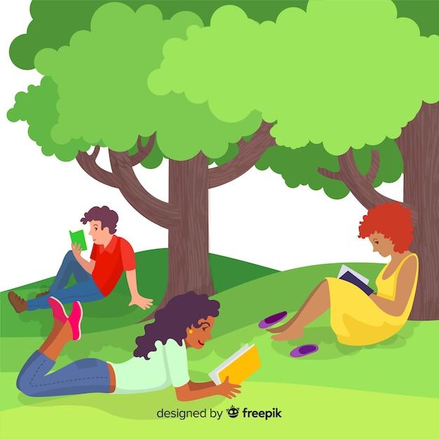 Personagens de design plano lendo sob árvores Vetor grátis