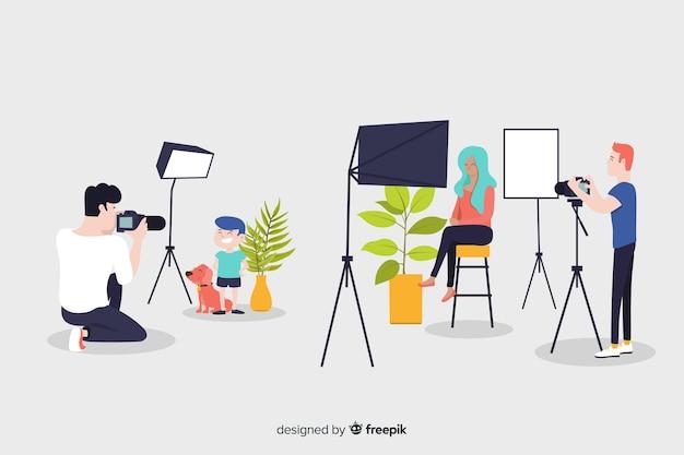 Personagens de design plano ocuparam fotógrafos Vetor grátis