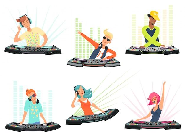 Personagens de dj. ilustrações música mascotes dos desenhos animados Vetor Premium