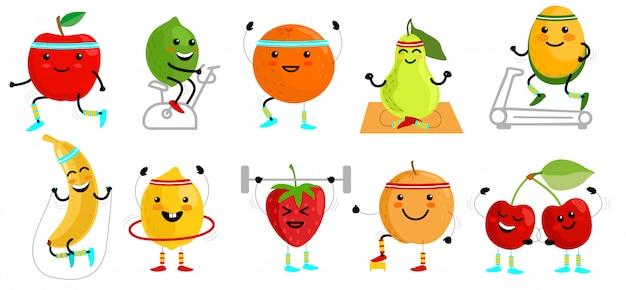 Personagens de frutas do esporte. alimentação saudável. desportista de frutas. alimentos de frutas engraçadas em exercícios de esporte, ilustração humana vitamínica de aptidão Vetor Premium