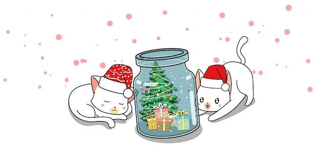 Personagens de gato adorável e dia de natal na garrafa Vetor Premium