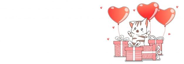 Personagens de gato banner estão cumprimentando feliz aniversário com balões de caixa e coração de presente Vetor Premium