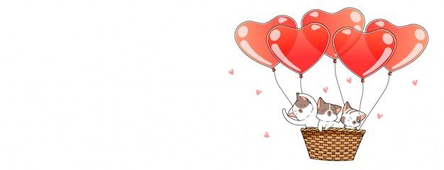Personagens de gato bonito dentro da cesta com balões Vetor Premium