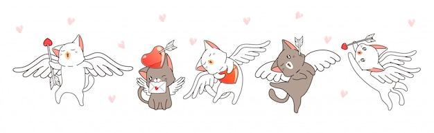 Personagens de gato cupido com corações e flechas Vetor Premium
