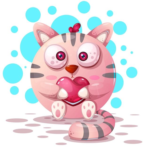 Personagens de gato dos desenhos animados Vetor Premium