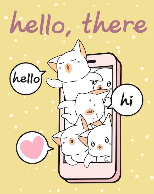 Personagens de gato kawaii no celular Vetor Premium
