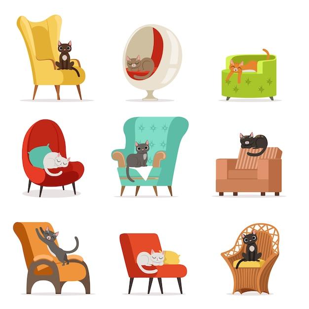 Personagens de gatos diferentes bonitos deitado e descansando no conjunto de poltronas de ilustrações Vetor Premium