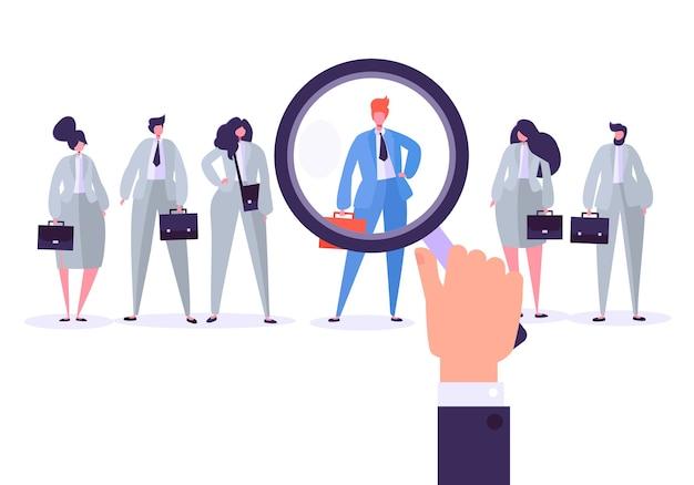 Personagens de gestão de recrutamento, melhor candidato a emprego. Vetor Premium