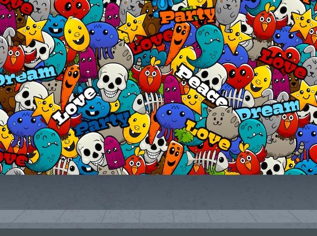 Personagens de graffiti no padrão de parede Vetor grátis