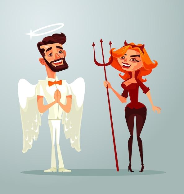 Personagens de homem anjo e mulher demônio. Vetor Premium