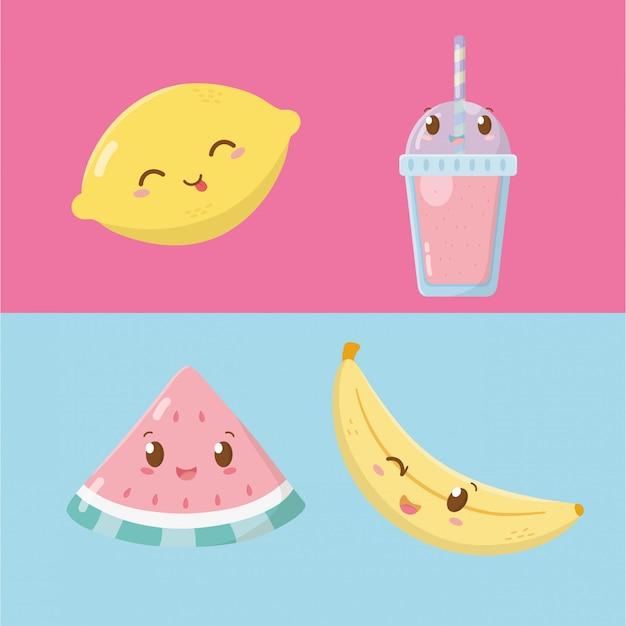 Personagens de kawaii de frutas e sorvetes frescos Vetor Premium