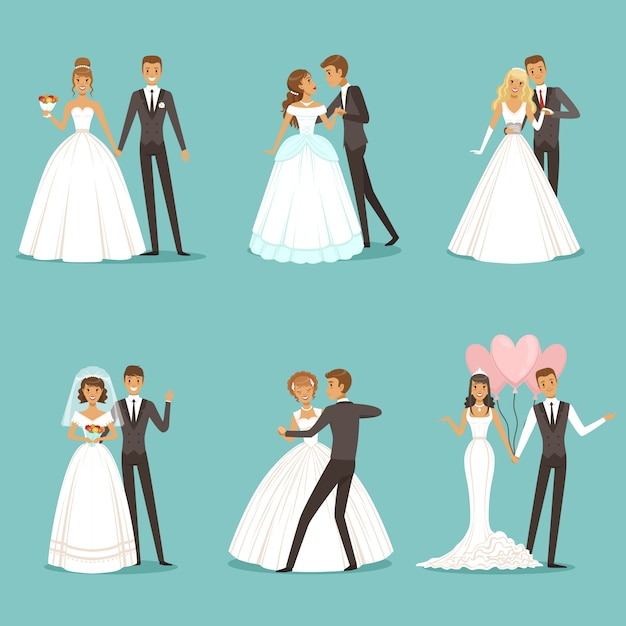 Personagens de lindo casal de noivos. noiva e noivo Vetor Premium