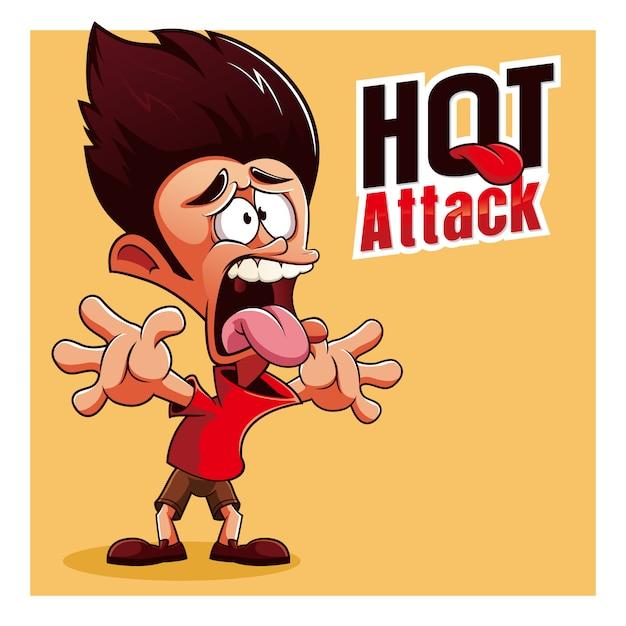 Personagens de mascote picante queima quente Vetor Premium