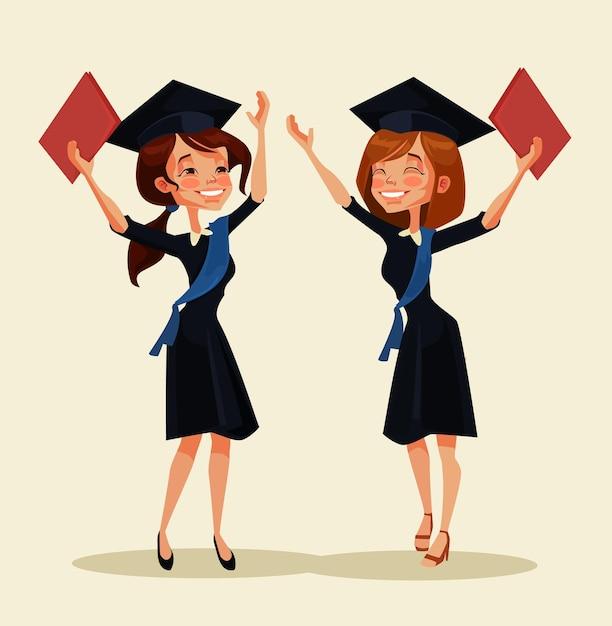 Personagens de meninas estudantes celebram a formatura. desenho animado Vetor Premium
