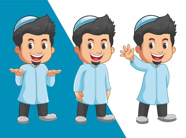 Personagens de meninos muçulmanos Vetor Premium