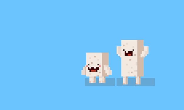 Personagens de monstro pixel arte dos desenhos animados cubo. 8bit. Vetor Premium