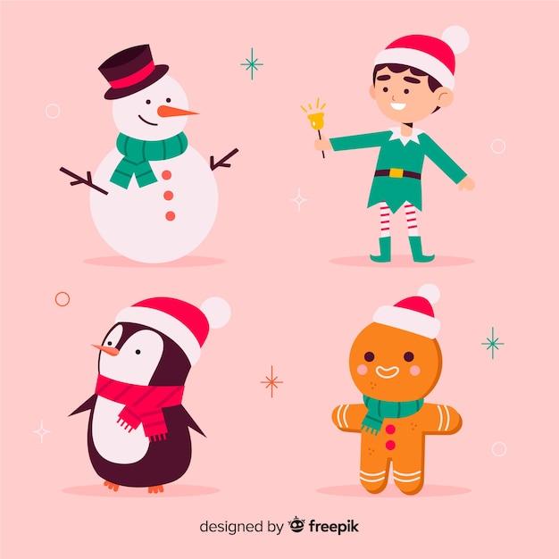 Personagens de natal de coleção de design plano Vetor grátis