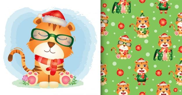 Personagens de natal de um tigre fofo com chapéu de papai noel e lenço. padrão sem emenda e desenhos de ilustração Vetor Premium