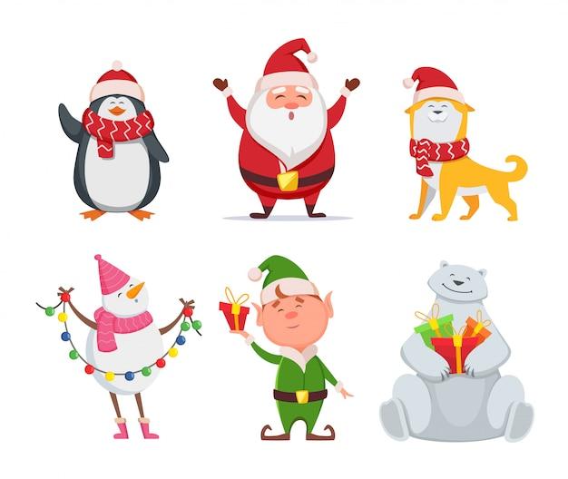 Personagens de natal em estilo cartoon. papai noel, cachorro amarelo, elfo. pinguim e boneco de neve. urso bonito e papai noel do feriado. ilustração vetorial Vetor Premium