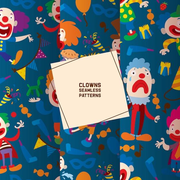 Personagens de palhaços engraçados e padrão sem emenda de acessórios de circo diferente. personagem de desenho animado palhaço, comediante e bobo da corte no traje, Vetor Premium