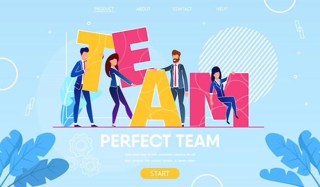 Personagens de pessoas de negócios, construção de equipe de palavra. Vetor Premium