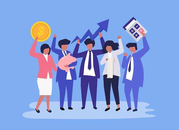 Personagens de pessoas de negócios e ícones de crescimento de desempenho Vetor grátis