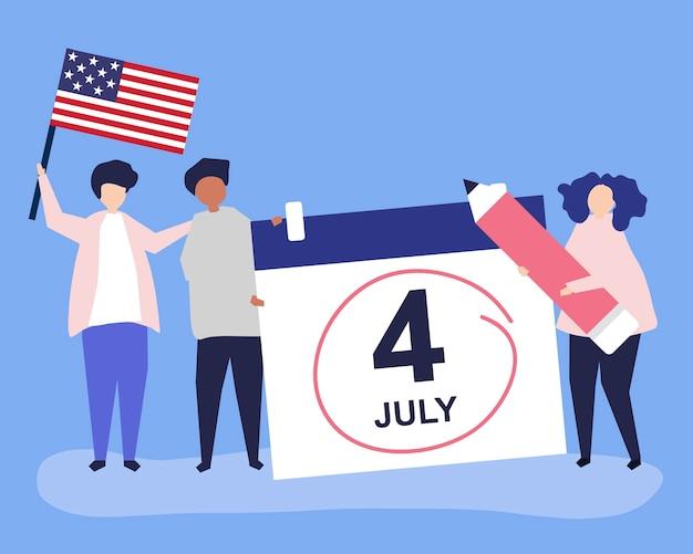 Personagens de pessoas e ilustração de conceito de quatro de julho Vetor grátis